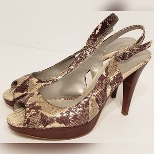 "Marc Fisher 4"" Cream & Brown Snake Skin Heels"